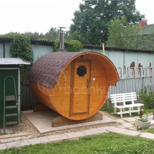 Barrel Sauna Mini with overhang