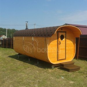 Square Barrel Sauna Mega-3 with overhang