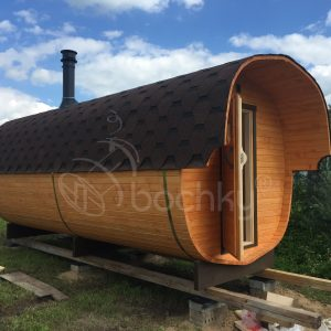 Okta Barrel Sauna Mega-2 with overhang