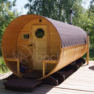 Barrel Sauna Mega-2 with porch