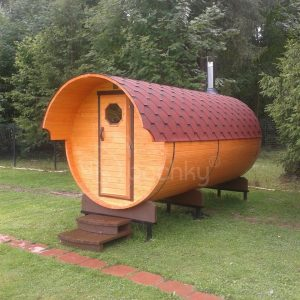 Barrel Sauna Super-lux with overhang