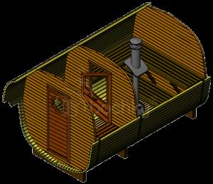 Okta Barrel Sauna Comfort (3.8m.) with overhang