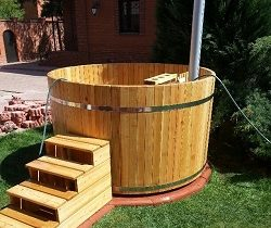 Larch tub with a furnace